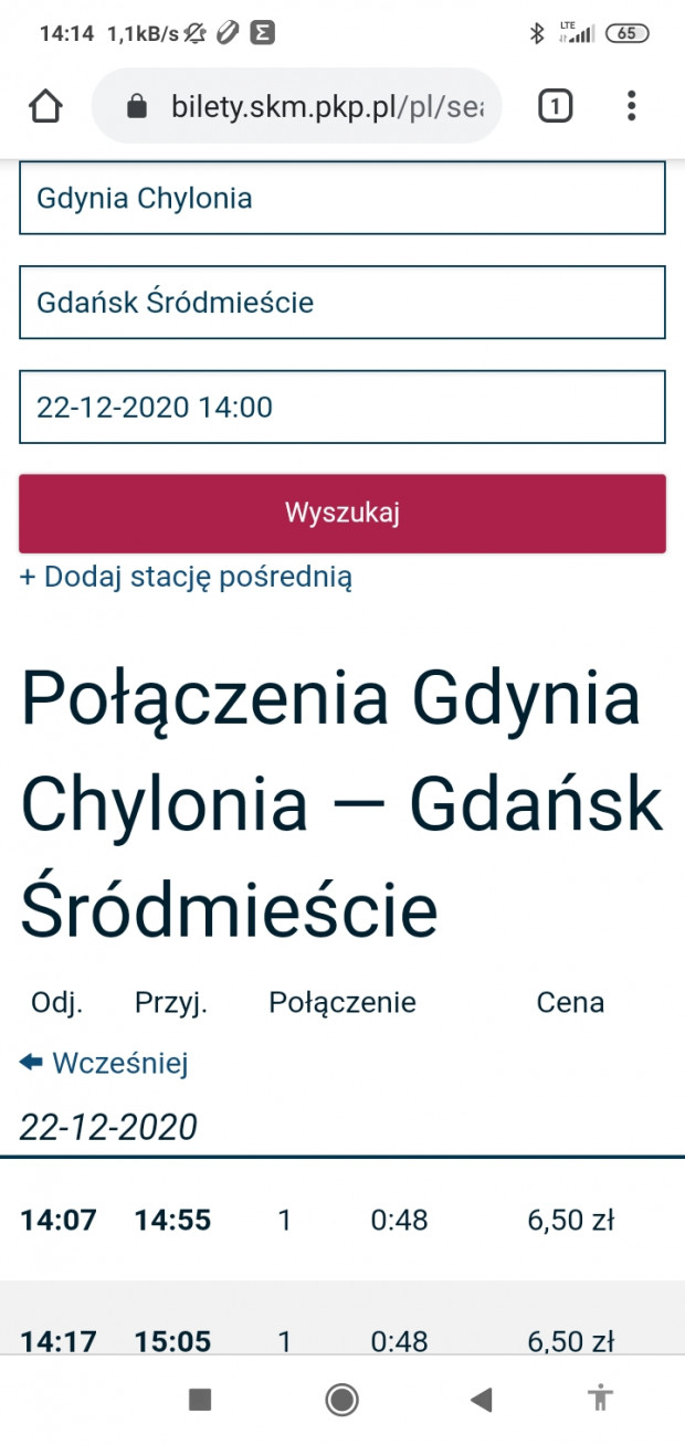 Skan z aplikacji, w której pan Jan sprawdzał cenę biletu między Gdańskiem a Chylonią. Nie widać w niej jednak adnotacji, że bilet ma Taryfę Pomorską.