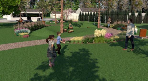 """Parki kieszonkowe mają być przyjazne dorosłym i dzieciom. Na zdjęciu wizualizacja """"kieszonki"""" przy ul. Sakowicza."""