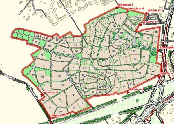 Mapa na stronie internetowej nie uwzględnia części kwater zlokalizowanych od strony ul. Cedrowej, na lewo od wejścia nr 6.