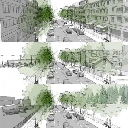 Podział przestrzenny ulic według sąsiedztw. Od góry typy A, B i C.