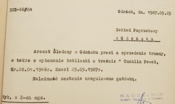 Dokument, który obala teorię o pochowaniu Tuchlina w anonimowym grobie.