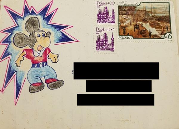 Koperta listu, który został napisany przez zbrodniarza na kilka godzin przed śmiercią. Nie był wówczas świadomy zbliżającej się egzekucji. Co ciekawe, to Tuchlin jest autorem rysunku Myszki Mickey.