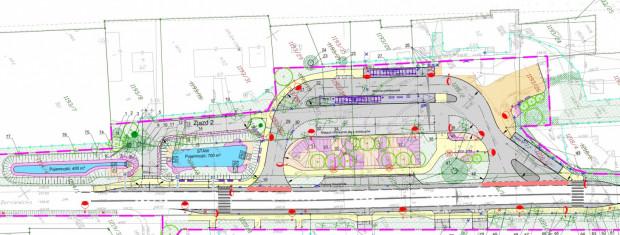 Projekt zagospodarowania terenu przed dworcem w Osowej. Kliknij w grafikę, aby powiększyć.