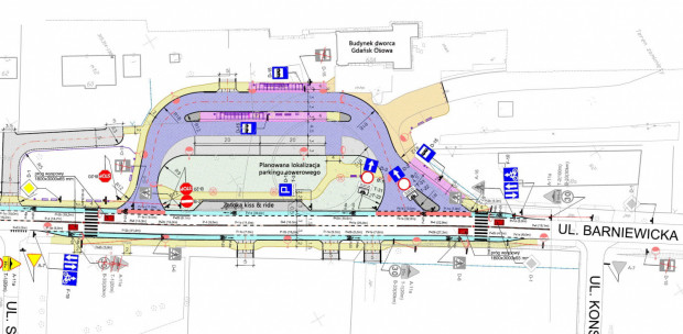 Docelowa organizacja ruchu przed dworcem w Osowej. Kliknij w grafikę, aby powiększyć.