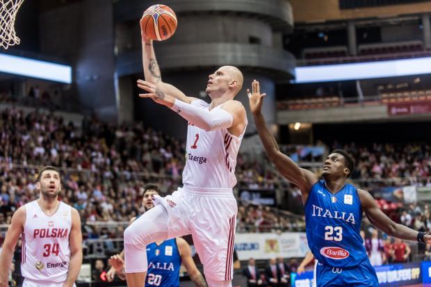 Maciej Lampe podczas meczu Polska Włochy w Ergo Arenie. 2018 rok.