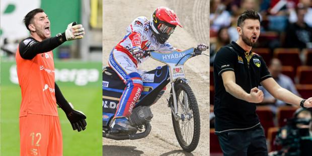Kolejność wyników głosowania po pierwszym tygodniu: 1. Michał Winiarski, trener Trefla Gdańsk (z prawej), 2. Rasmus Jensen, żużlowiec Zdunek Wybrzeże Gdańsk (w środku), 3. Dusan Kuciak, bramkarz Lechii Gdańsk (z lewej).