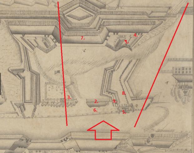 Ilustracja numer 1: grafika prezentująca gdańskie fortyfikacje, opublikowana w portalu polona.pl. Dla porównania z grafiką Mateusza Deischa, rysunek został obrócony.