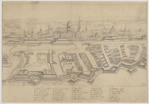 Grafika prezentującą panoramę Gdańska od strony zachodniej. Opisano ją jako pochodzącą z XVII wieku.