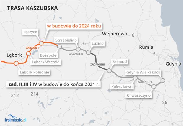 Prace na budowie Trasy Kaszubskiej idą pełną parą.