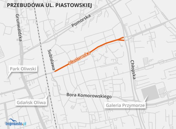 """Prace obejmą odcinek między ulicami Subisława (od rejonu przystanków """"Droszyńskiego"""") a Chłopską."""