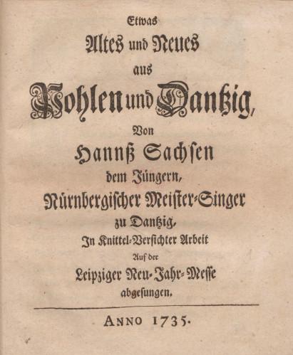 Strona tytułowa poematu opisującego oblężenie Gdańska prowadzone podczas polskiej wojny o sukcesję w 1734 r.