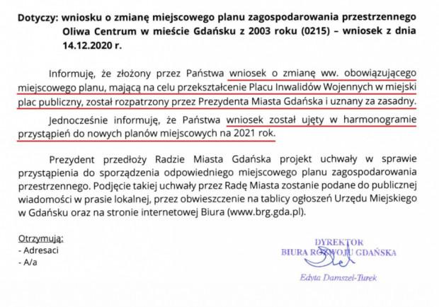 Najnowsza informacja z BRG ws. placu Inwalidów Wojennych w Oliwie.