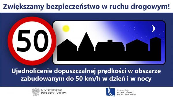 Od 1 czerwca w Polsce, wzorem wszystkich krajów europejskich, ograniczenie 50 km/h w obszarze zabudowanym będzie obowiązywało przez całą dobę.