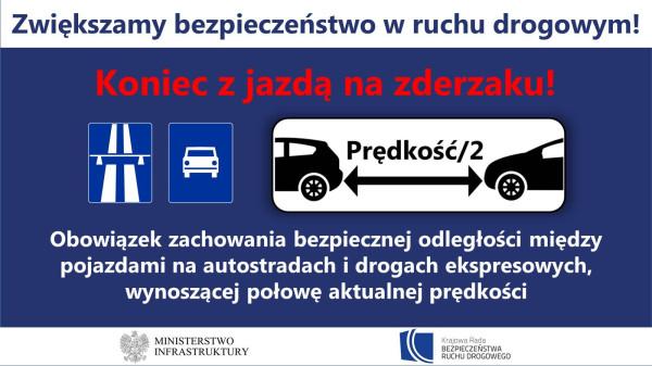 Zasada zachowania bezpiecznej odległości w ustawie nie dotyczy wyprzedzania.