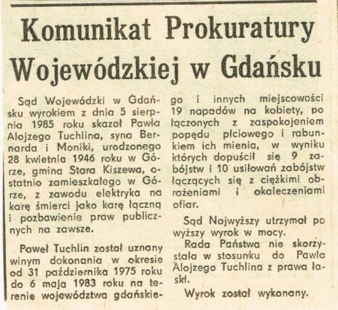 Komunikat informujący o straceniu Skorpiona, który ukazał się w Dzienniku Bałtyckim 27 maja 1987 r. (nr 121/12948). Identyczne komunikaty zostały opublikowane także w innych gdańskich gazetach: Głosie Wybrzeża i Wieczorze Wybrzeża.