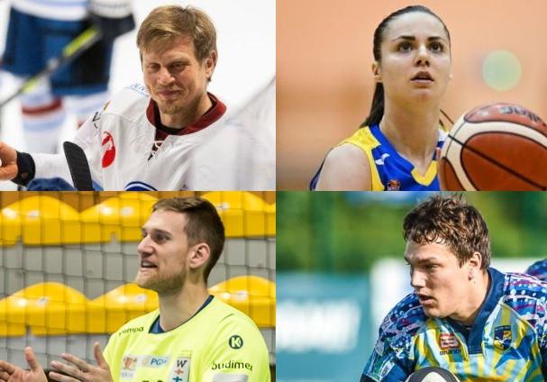 Nominowani do tytułu Ligowca Roku 2020 - górny rząd od prawej: Barbora Balintova, Josef Vitek, dolny rząd o prawej: Mateusz Mrowca, Artur Chmieliński.