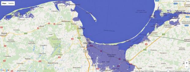 Tak zmieniłaby się linia brzegowa na Pomorzu, gdyby poziom Bałtyku wzrósł o 2 metry.