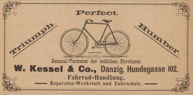 Reklama jednego ze sklepów rowerowych w Gdańsku, 1897 r.