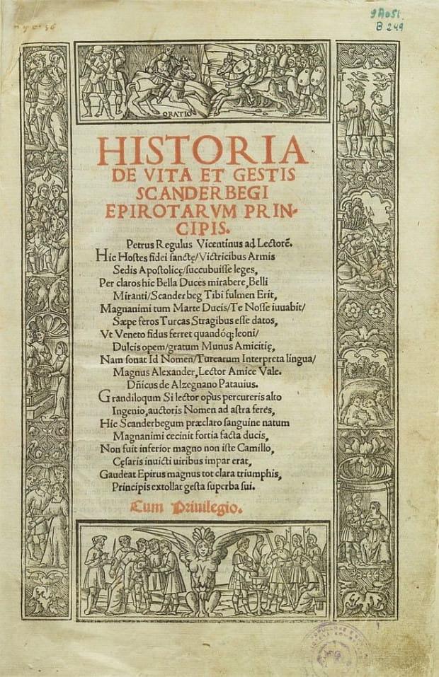 """Strona tytułowa """"Historii życia i czynów Skanderbega"""" autorstwa Marina Barletiego."""