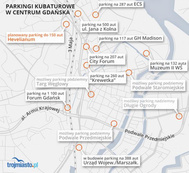 Istniejące, budowane oraz planowane ogólnodostępne parkingi kubaturowe w centrum Gdańska.