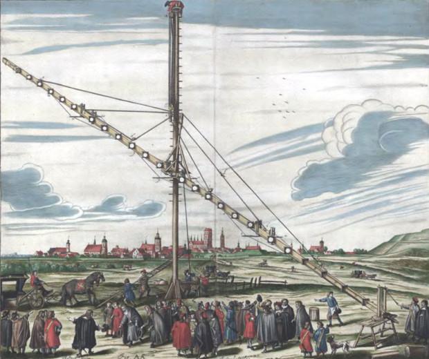 Polowy teleskop Jana Heweliusza, zlokalizowany na północ od widocznego w głębi Starego i Głównego Miasta, znajdował się przy drodze biegnącej wówczas do Wrzeszcza. Grafika Isaaka Saala według rysunku Andreasa Stecha.
