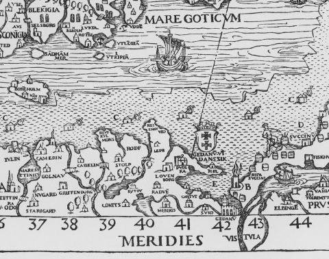 Fragment mapy Carta Marina autorstwa szwedzkiego duchownego Olausa Magnusa z pierwszej połowy XVI w.  Zaznaczono na niej karczmy budowane na zamarzniętym Bałtyku, ale nieopodal lądu - od Meklemburgii do Zatoki Ryskiej. Obsługiwały podróżnych wędrujących przez Pomorze, ale nieprzeprawiających się np. do Szwecji. Mapa za chronmyklimat.pl