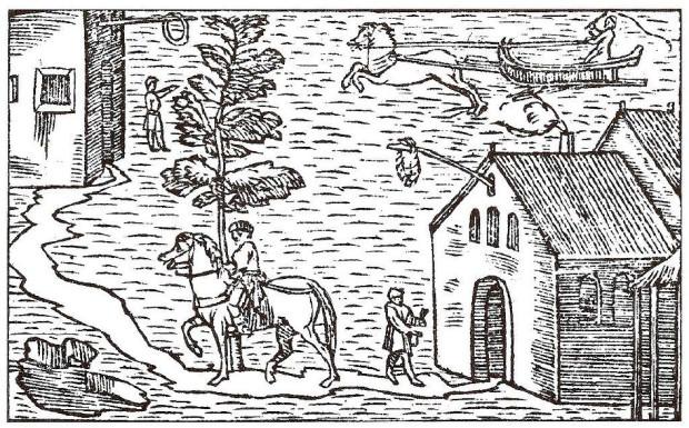 Karczma i podróżnicy poruszający się po zamarzniętym Bałtyku. Grafika opublikowana w dziele Opera breve and Ain kurze Auslegung z 1539 r.