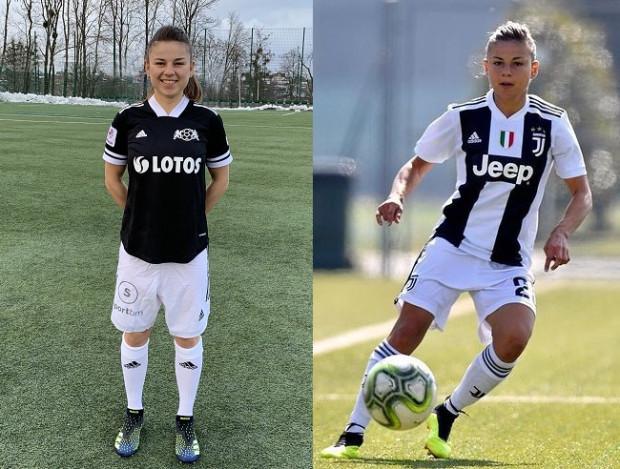 Aleksandra Rompa w barwach AP LG Lotos Gdańsk (z lewej) i z okresu gry w Juventusie Turyn.