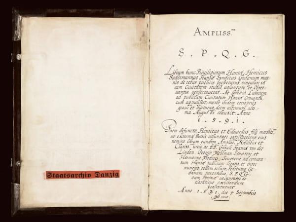 Strona tytułowa odpisu z 1591 roku przywilejów nadanych Hanzie w latach 1252-1567.