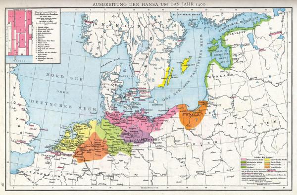 Zasięg Hanzy około roku 1400. Zaznaczone strefy wpływów związku z podziałem na strefy wpływów. Mapa z atlasu do nauki historii prof. G. Droysensa, wydanego w 1886 r.