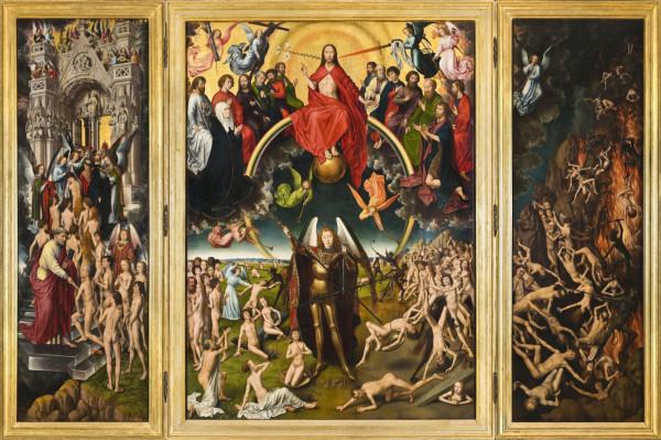 """Obraz """"Sąd ostateczny"""" autorstwa Hansa Memlinga (1435-1494) jest najcenniejszym eksponatem znajdującym się w zbiorach Muzeum Narodowego w Gdańsku."""