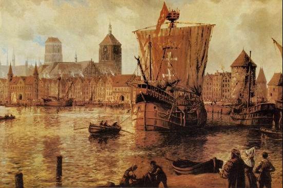 """Sukcesy okrętu kaperskiego """"Piotr z Gdańska"""" działały na wyobraźnię. W 1943 roku namalował go m.in. Adolf Bock w obrazie panoramy Gdańska z perspektywy Motławy."""