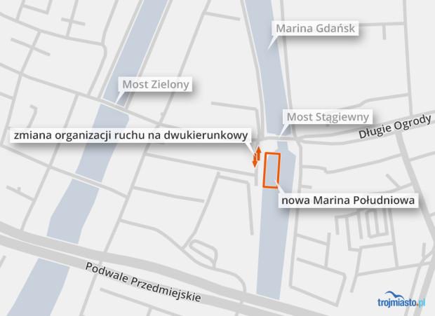 Nowa marina powstanie wzdłuż ul. Motławskiej, która na czas budowy będzie dwukierunkowa.