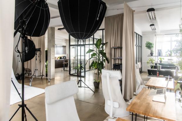 Surowe biuro na terenie dawnego Dalmoru zyskało zupełnie inne oblicze dzięki roślinności, miękkim tkaninom oraz szklanym ściankom z metalowymi szprosami.