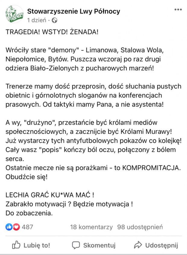 Pełny wpis Stowarzyszenia Lwy Północy na Facebooku.