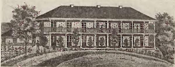 """Nowe zabudowania kąpieliskowe,  ryt. Julius Seyffert, ok. 1845 r. Reprodukcja zamieszczona w książce Otto Müllera """"Brösen"""", wydanej w Gdańsku w 1936 r."""