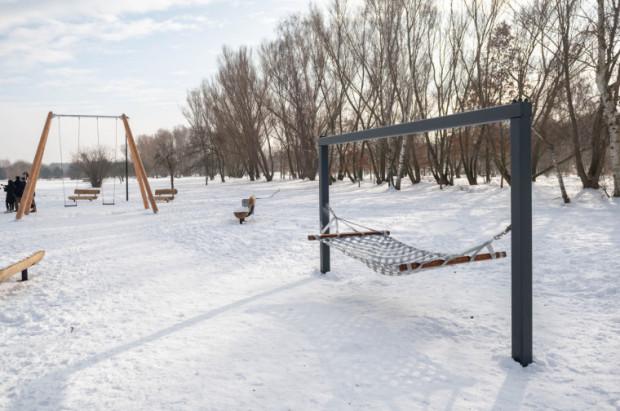 Plac zabaw dla dorosłych w parku Reagana. Zdaniem radnych jego koszta są nieadekwatne do wyposażenia.