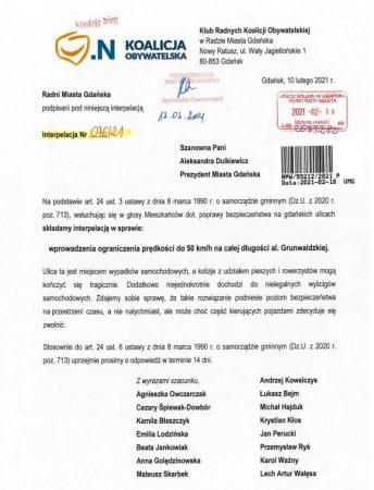 Interpelacja radnych Koalicji Obywatelskiej.