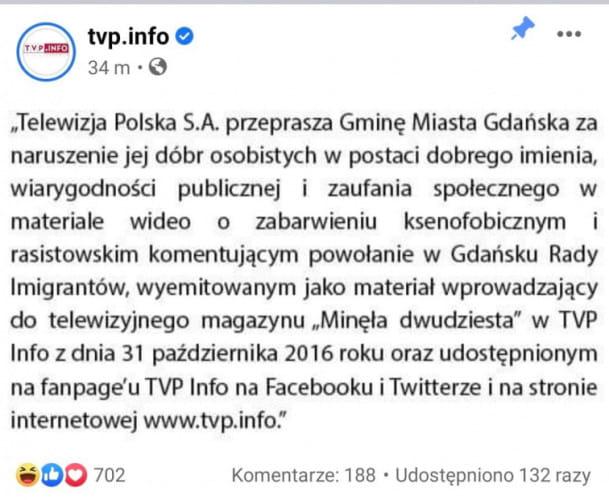 Przeprosiny na facebooku TVP Info.