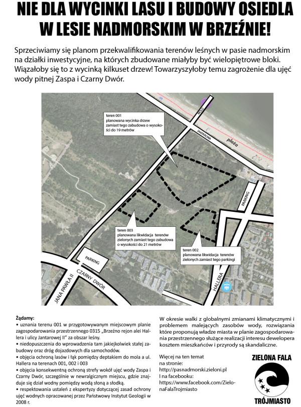 Postulaty Zielonej Fali Trójmiasto. W przypadku terenu 003 zostały podane parametry zabudowy z I wyłożenia projektu planu zagospodarowania. Plan nie dopuszcza też budowy osiedli mieszkaniowych.