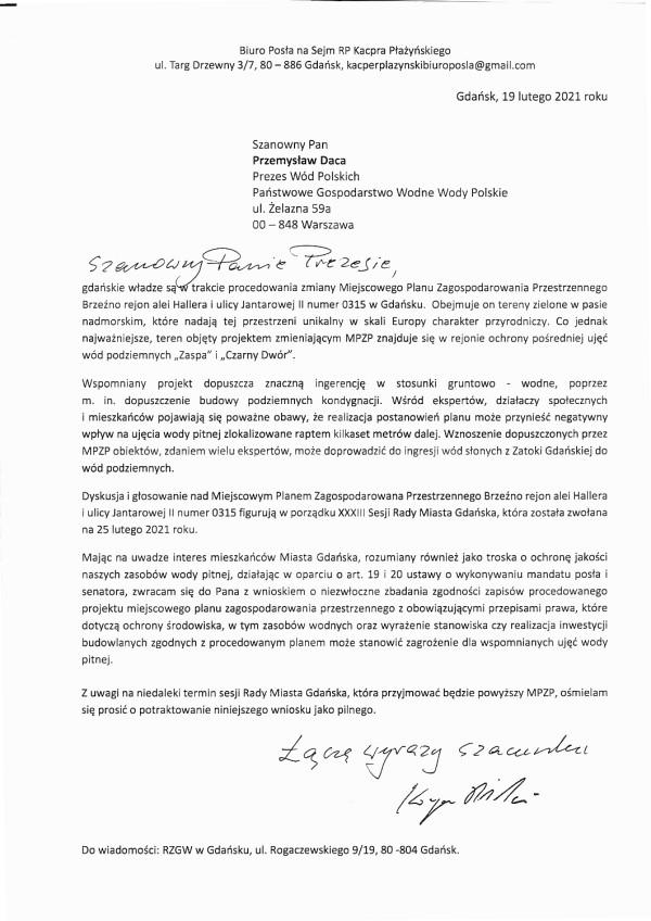 Treść pisma wystosowana przez Kacpra Płażyńskiego do prezesa Wód Polskich.