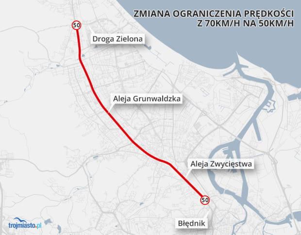 Prędkość na al. Zwycięstwa i Grunwaldzkiej do 50 km/h zostanie obniżona w marcu.