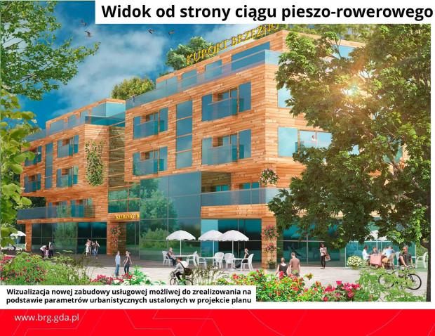 Możliwa forma zabudowy na działce miasta przy deptaku prowadzącym do mola.