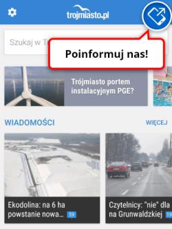 """Funkcja wysłania Raportu: """"Poinformuj nas"""" w aplikacji i na stronie mobilnej"""