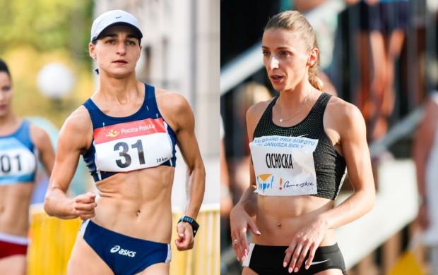 Agnieszka Ellward  z Floty Gdynia (z lewej) zdobyła brąz w chodzie na 3000 m. Angelika Cichocka z SKLA Sopot (z prawej) wywalczyła srebro w biegu na 800 m.