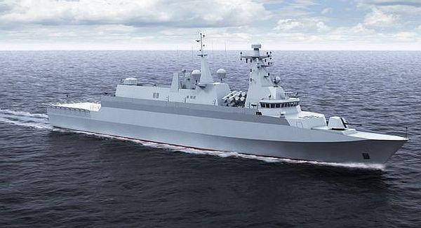 Projekt okrętu typu Miecznik - konkretnie jego trzecia wersja, prezentowana w roku 2015.
