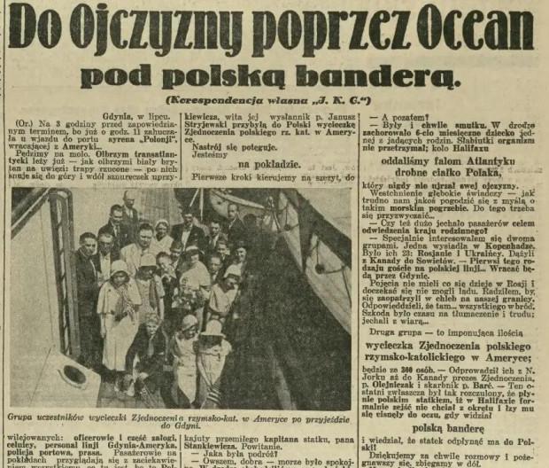 """""""Ilustrowany Kurier Codzienny"""" informuje o Polonii zmierzającej na obchody Święta Morza w 1932 roku."""