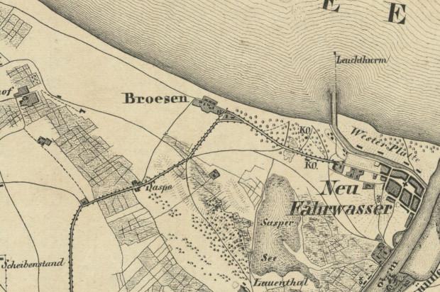 Fragment mapy Gdańska i okolic z ok. 1850 r.