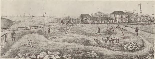 """Kąpielisko w Brzeźnie, ryt. Julius Seyffert, ok. 1845 r. Reprodukcja zamieszczona w książce Otto Müllera """"Brösen"""", wydanej w Gdańsku w 1936 r."""