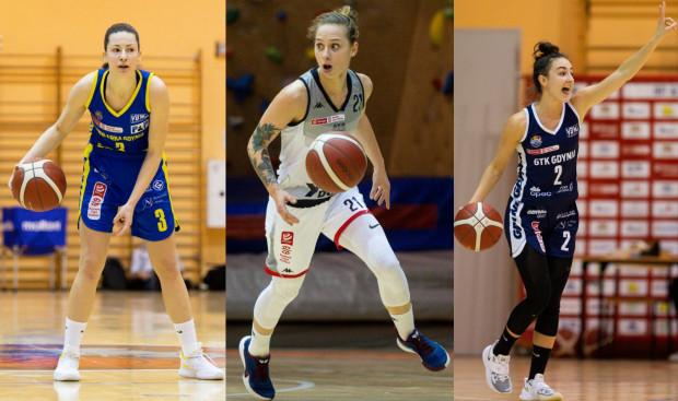 To już ostatni weekend sezonu zasadniczego w Energa Basket Lidze Kobiet. Na zdjęciu od lewej: Angelika Slamova z VBW Arki Gdynia, Sylwia Bujniak z DGT AZS Politechniki Gdańskiej i Julia Bazan z GTK Gdynia.